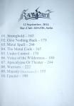 Rampart setlist