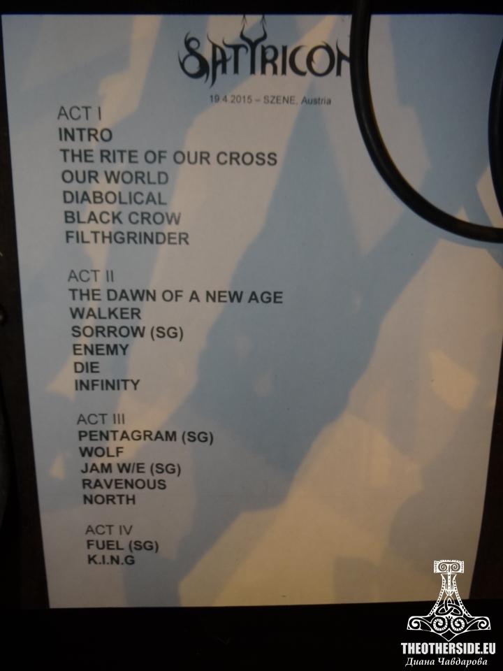 Satyricon's Setlist