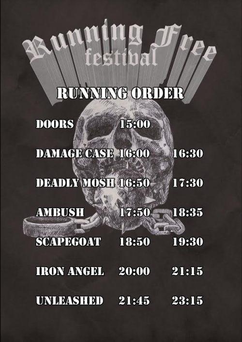 Running Free Festival running order