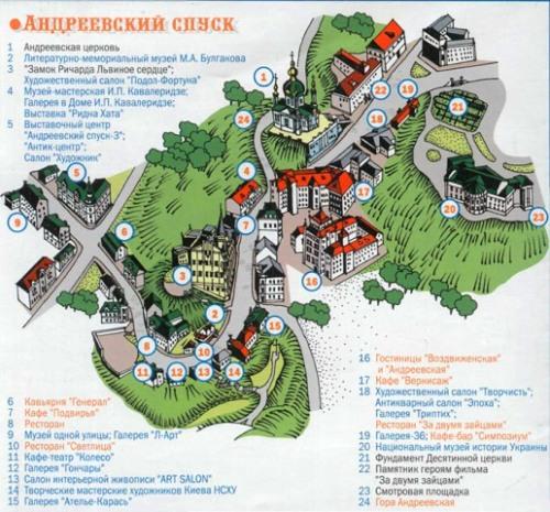 Карта Андреевского спуска