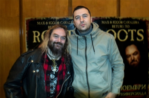 Водещият Васко Катинчаров и Max Cavalera