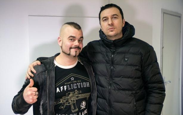 Водещият Васко Катинчаров и Joakim Broden - Sabaton