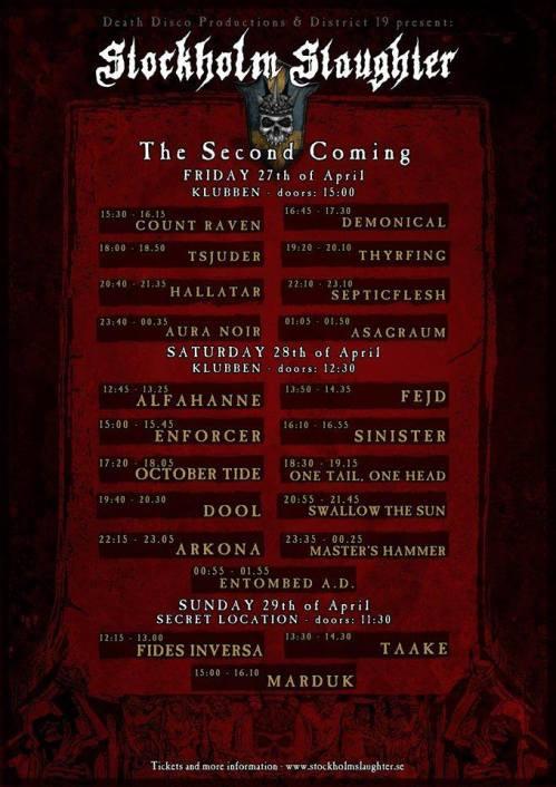Stockholm Slaughter 2018 final timetable