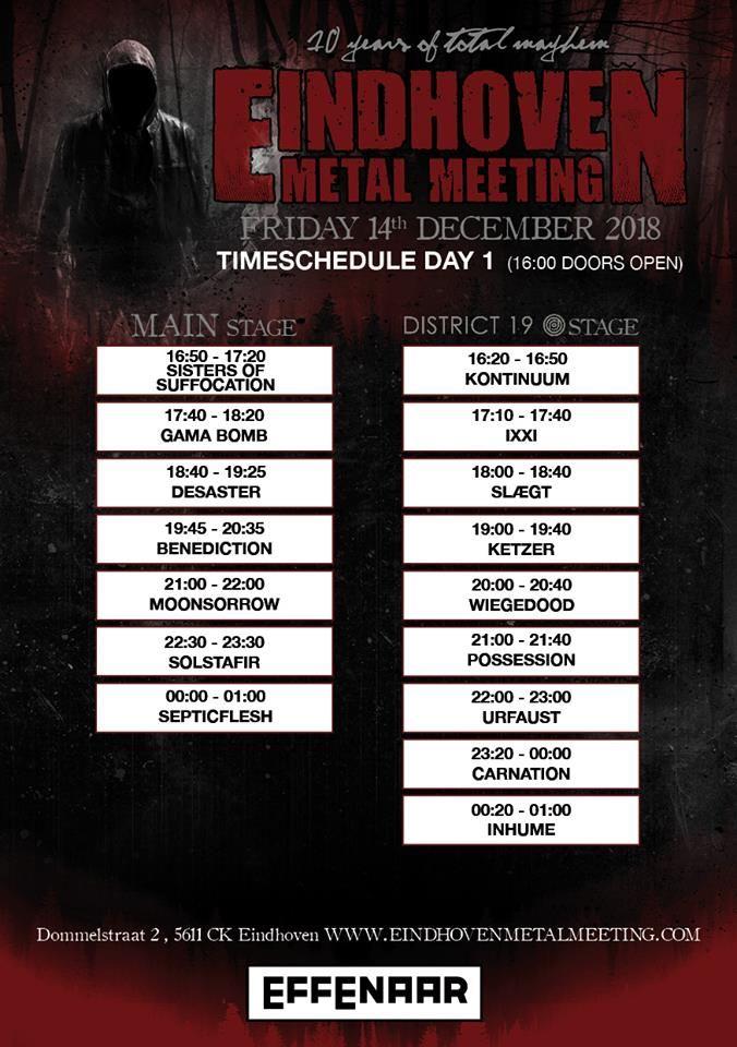 Програма на първия ден на Eindhoven Metal Meeting 2018