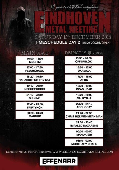 Програма на втория ден на Eindhoven Metal Meeting 2018