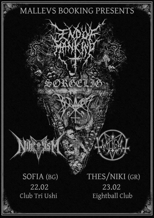End Of Mankind, Sørgelig, Belgarath and Nihilism live in Sofia